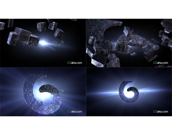 史诗般震撼的破碎陨石汇聚成3D LOGO标志的AE模板