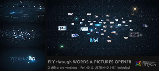 2款科幻空间中信息数据汇聚成LOGO的AE模板