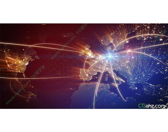 穿梭在全球上空的炫丽光线AE模板