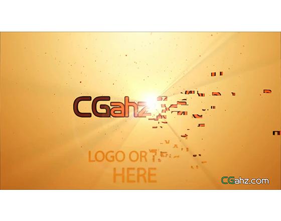 碎片组合形成LOGO标志的AE模板