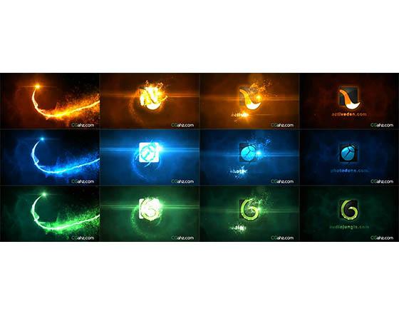 炫丽的粒子光束螺旋撞击后生成LOGO标志的AE模板