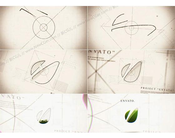 图纸绘制样式的LOGO演绎AE工程