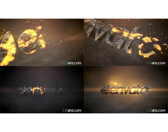 2款炙熱熔漿燃燒LOGO演繹AE模板