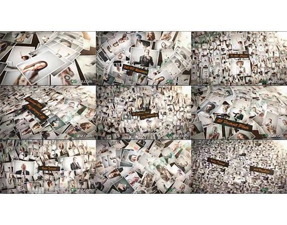巨多照片形成的照片墙上的图文展示