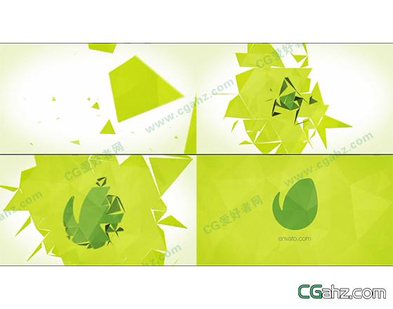 干净抽象的三角几何体聚合logo揭示开场AE源文件
