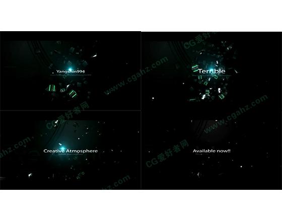 黑色科技空间中的字幕展示开场AE模板