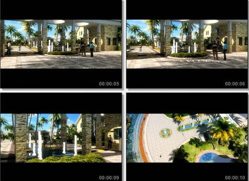 小区入口汽车进入动画片段