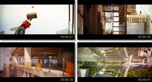 建筑施工场景动画片段