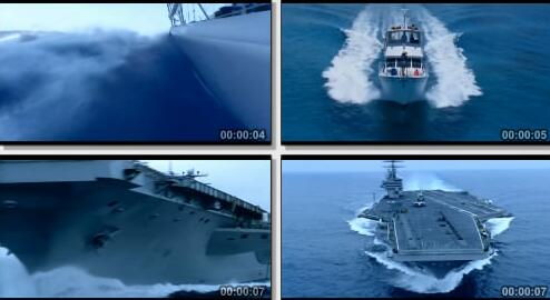 轮船快速行驶实拍片段