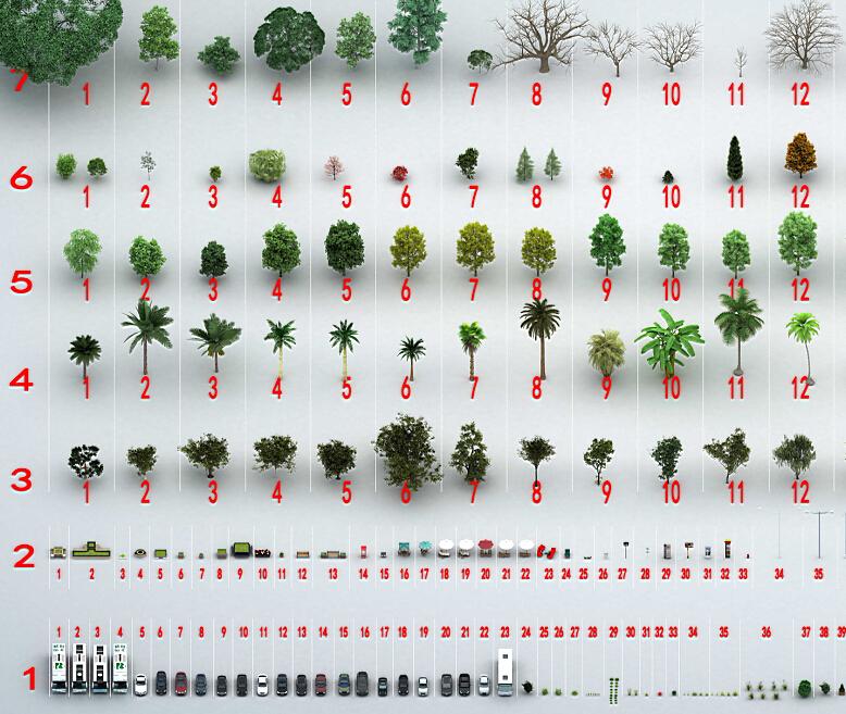 建筑表现常用模型 - 乔木、灌木、植物模型、街道小品模型合集